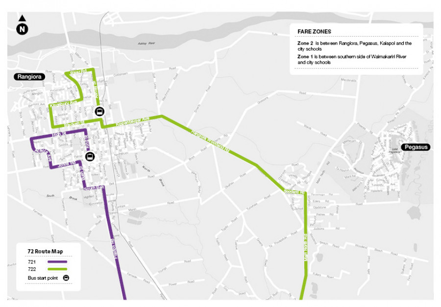 72 Waimakariri Christchurch schools route map for 771 and 772
